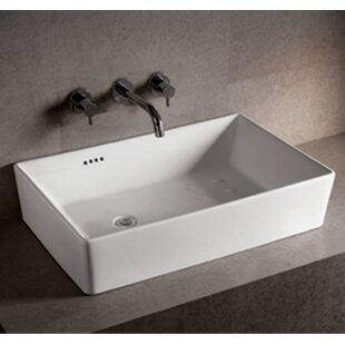Isabella Ceramic Rectangular Vessel Bathroom Sink with Overflow ByWhitehaus Collection