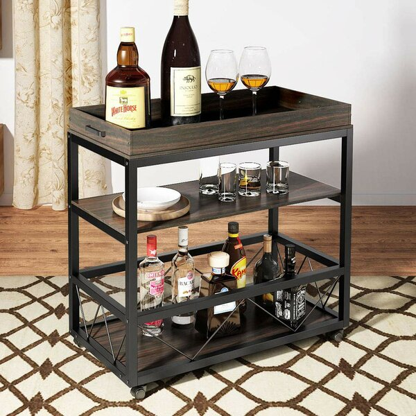 Toms 3-Tier Rustic Industrial Bar Cart by Williston Forge