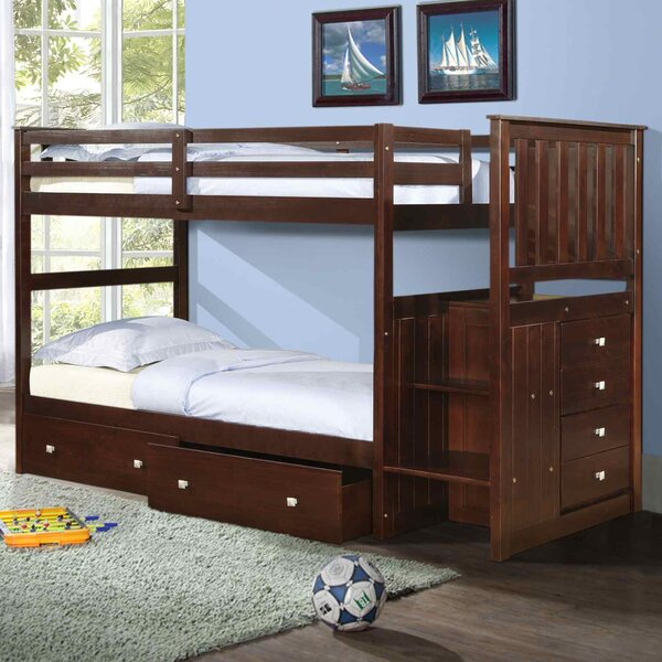 Downer Twin Over Twin Bunk Bed with Drawers by Harriet Bee