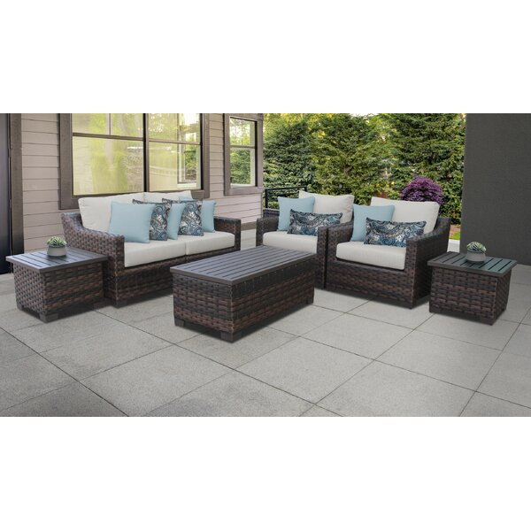 River Brook 7 Piece Rattan Sofa Seating Group with Cushions by kathy ireland Homes & Gardens by TK Classics