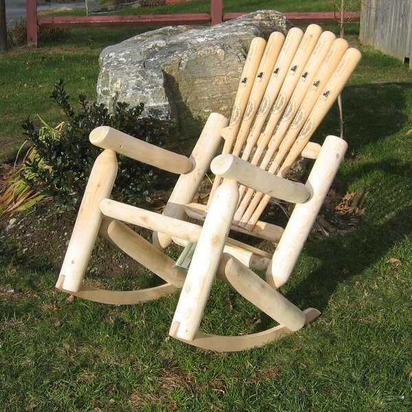 Base ball Bat Solid Wood Rocking Adirondack Chair by Ski Chair