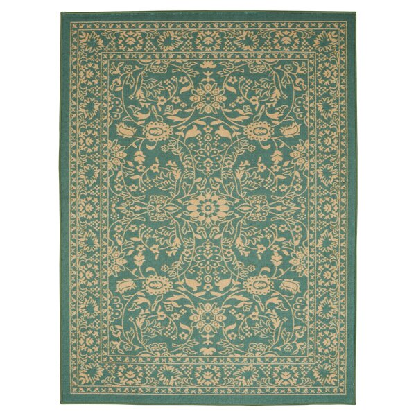 Anne Oriental Mahal Teal/Beige Area Rug by Diagona Designs