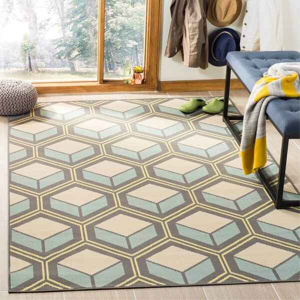 Hampton Dark Ivory Geometric Outdoor Area Rug by Safavieh
