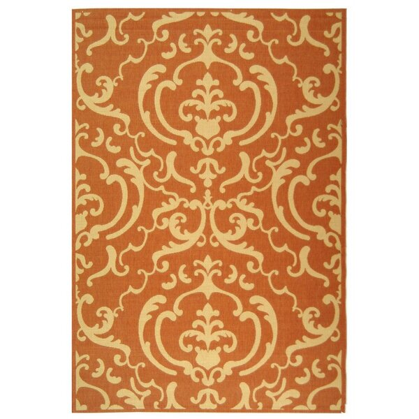 Short Terracotta / Natural Outdoor Rug by Winston Porter