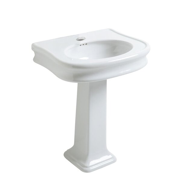 China Series Vitreous China 34 Pedestal Bathroom Sink with Overflow by Whitehaus Collection