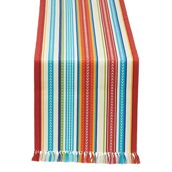 Baja Cantina Stripe Fringed Table Runner by Design Imports