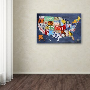 USA Map by Design Turnpike Graphic Art on Wrapped Canvas by Latitude Run