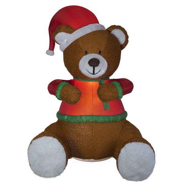 Mixed Media Hugging Teddy Bear with Santa Hat Christmas Oversized Figurine by The Holiday Aisle