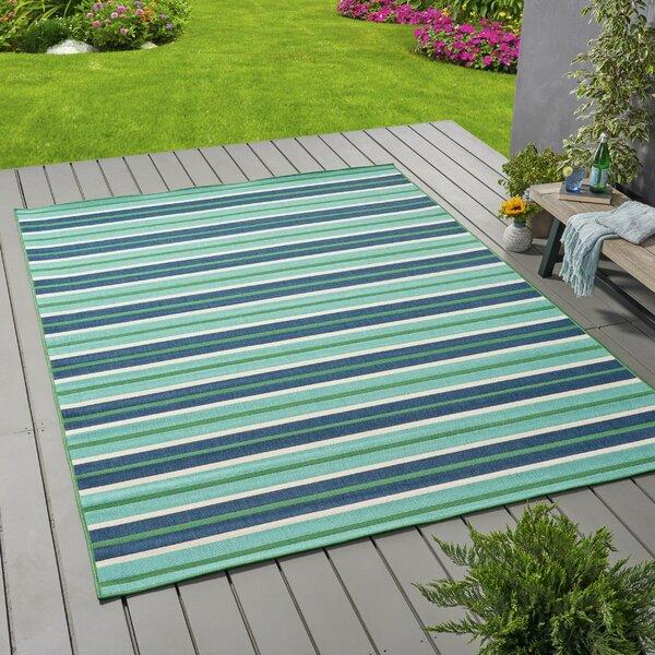Gillum Striped Blue/Green Indoor/Outdoor Area Rug by Highland Dunes