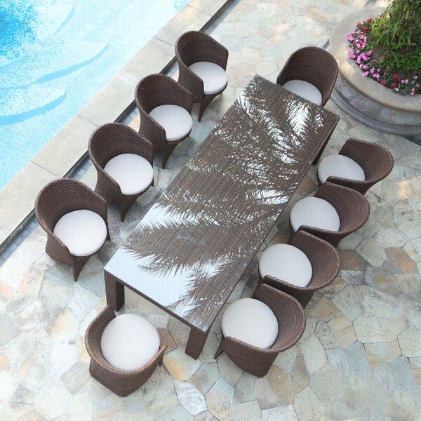 Shenelly Palm 11 Piece Dining Set with Cushions Bayou Breeze BBZE4515