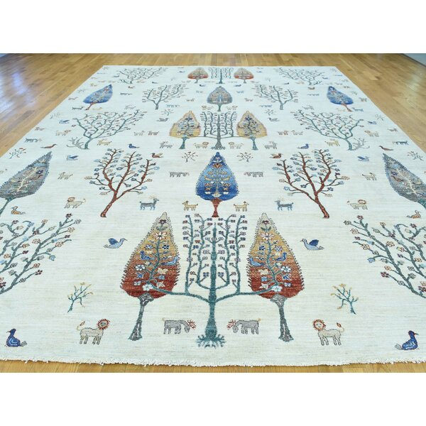 One-of-a-Kind Beaumont Antiqued Cypress Tree Design Handwoven Ivory Wool Area Rug by Isabelline