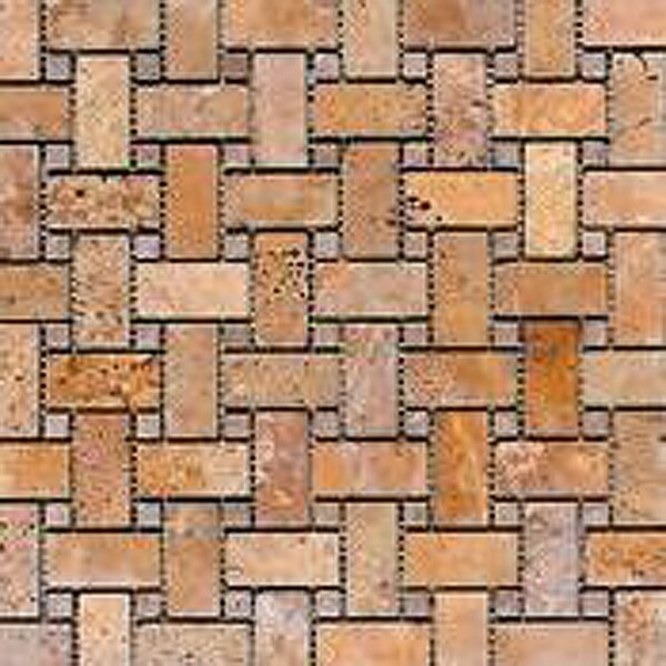 Noce Basketweave Random Sized Travertine Mosaic Tile in Brown by Epoch Architectural Surfaces