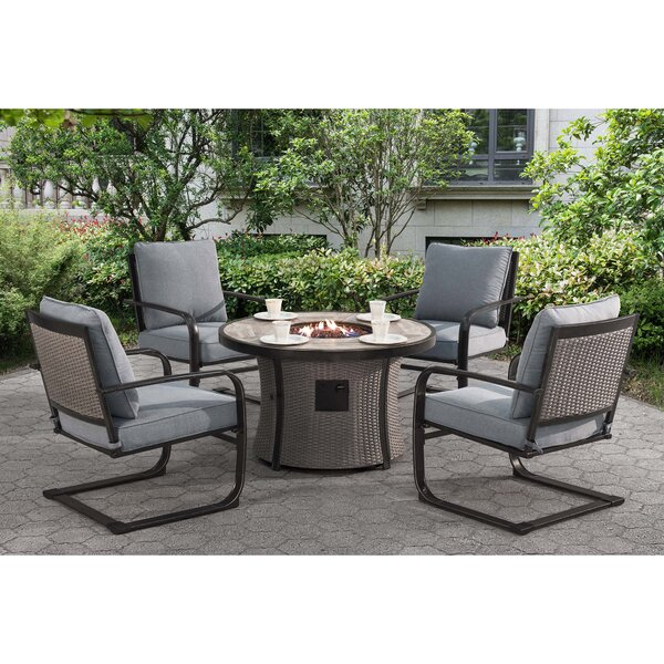 Robertson Dining Set with Cushions and Firepit by Brayden Studio