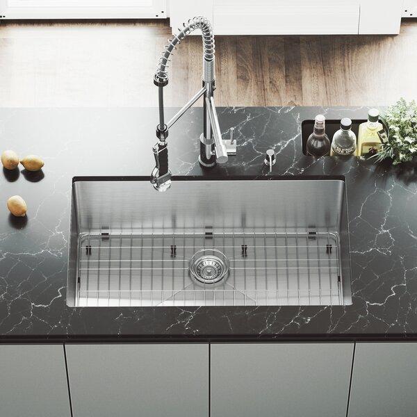 32 inch Undermount Single Bowl 16 Gauge Stainless Steel Kitchen Sink with Zurich Chrome Faucet, Grid, Strainer and Soap Dispenser by VIGO