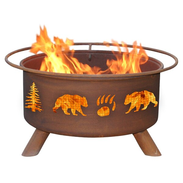 Classic Bear and Tree Steel Wood Burning Fire Pit by Patina Products