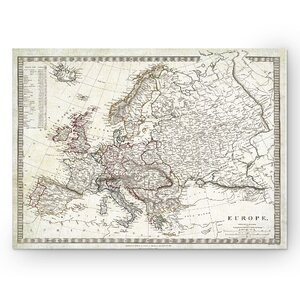 'Vintage Map Europe I' Graphic Art Print on Wrapped Canvas by Wexford Home
