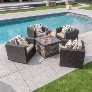 Burch Modern 5 Piece Conversation Set With Cushions
