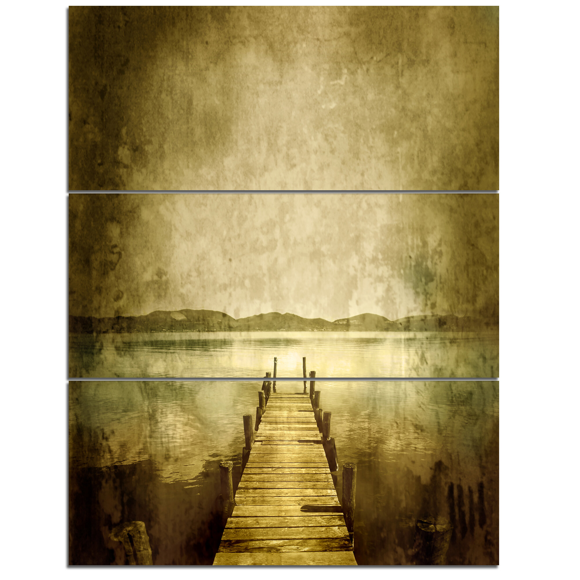 DesignArt Vintage Pier Over Lake - 3 Piece Wall Art on Wrapped ...