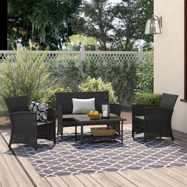 Bridgette Outdoor Complete 4 Piece Rattan Sofa Seating Group by Andover Mills