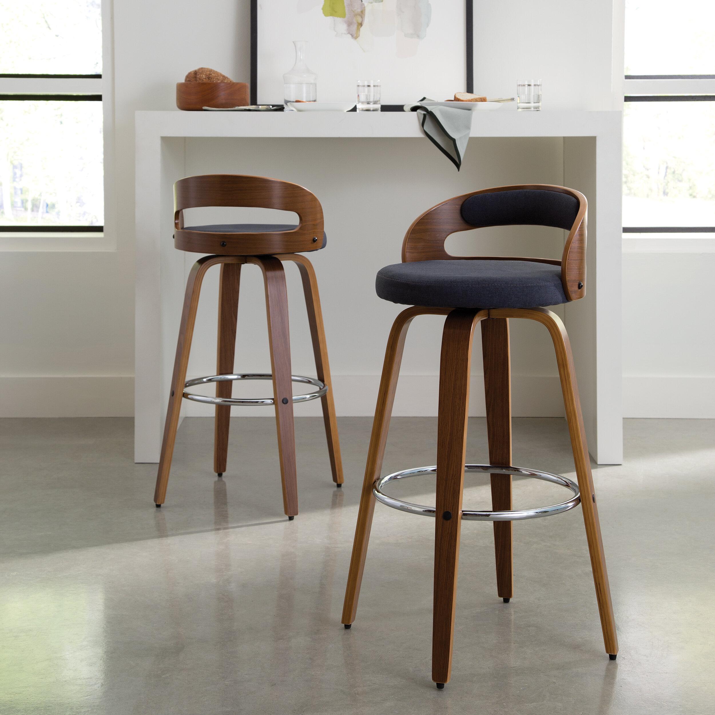 Cool Lachance Mid Century Modern Low Back Bentwood Frame 30 Swivel Bar Stool Cjindustries Chair Design For Home Cjindustriesco