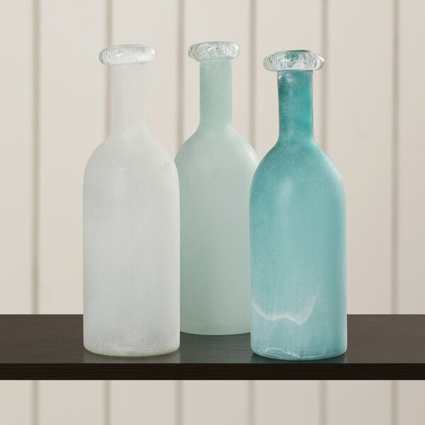 Zech Traditional Glass Table Vase (Set of 3) by Rosecliff Heights