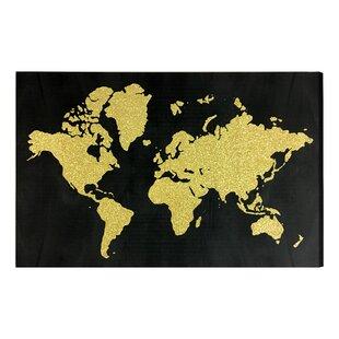 Gold world map wall art youll love wayfair world in glitter gold glitter art on canvas sciox Gallery