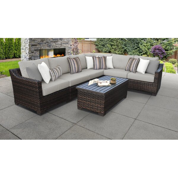 River Brook 7 Piece Rattan Sectional Seating Group with Cushions by kathy ireland Homes & Gardens by TK Classics
