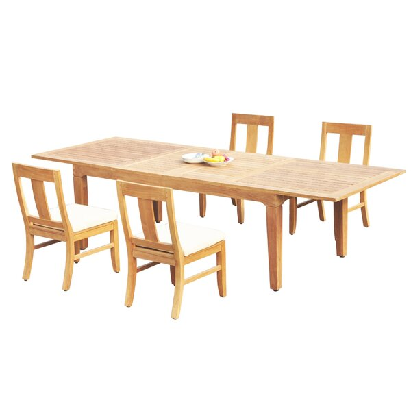 Mikel 5 Piece Teak Dining Set by Rosecliff Heights