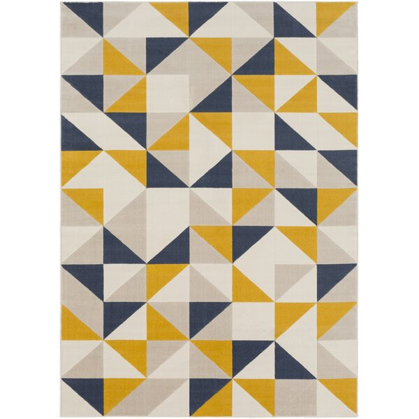 Huerta Geometric Mustard/Charcoal Area Rug by Wrought Studio