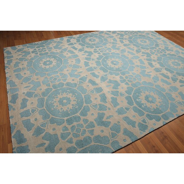 One-of-a-Kind Hacienda Modern Hand-Knotted Wool Beige/Blue Area Rug by Canora Grey