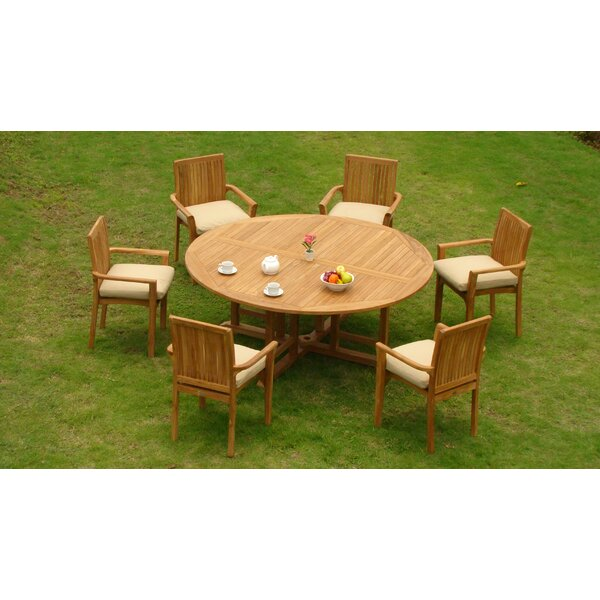Rousseau Luxurious 7 Piece Teak Dining Set by Rosecliff Heights