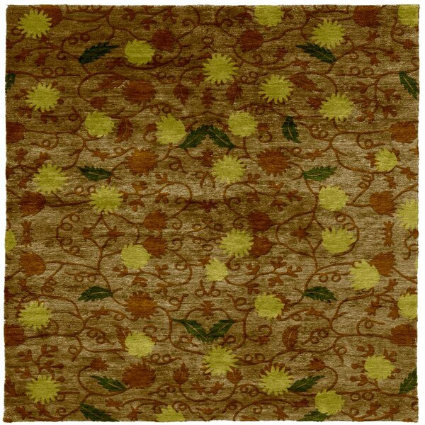 One-of-a-Kind Helios Hand-Knotted Tibetan Brown 8' Square Wool Area Rug