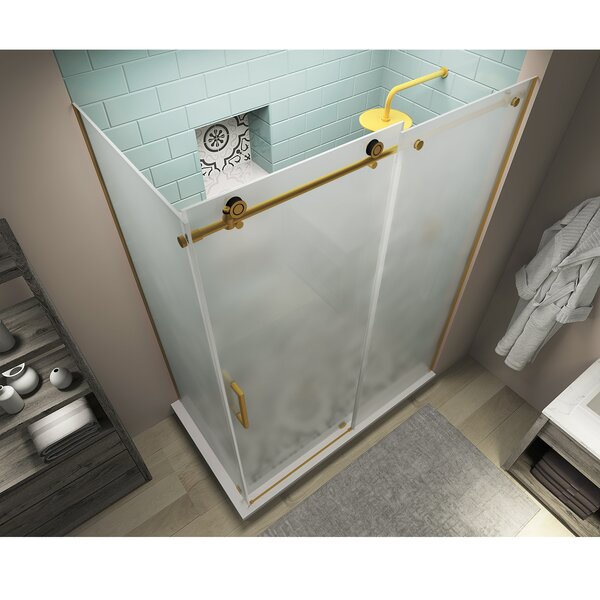 Coraline XL 64 W x 80 H Frameless Rectangle Sliding Shower Enclosure with Fixed Panel