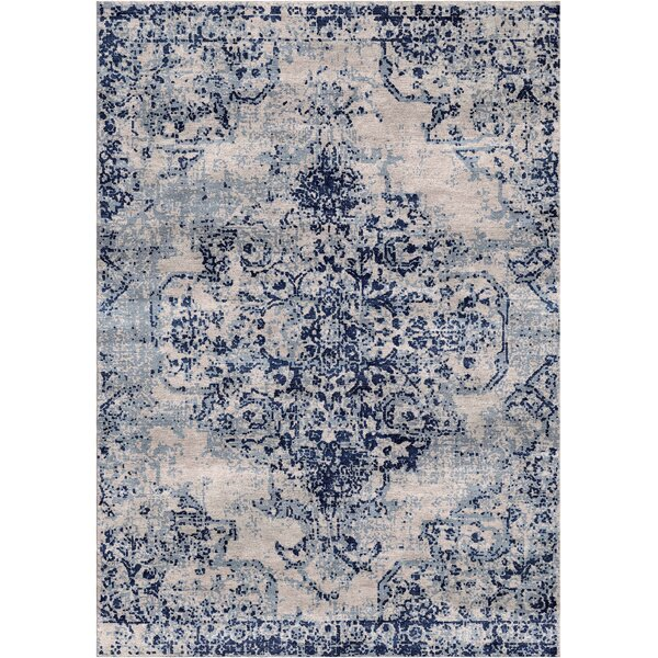 Aliza Handloom Beige/Blue Area Rug by Bungalow Rose