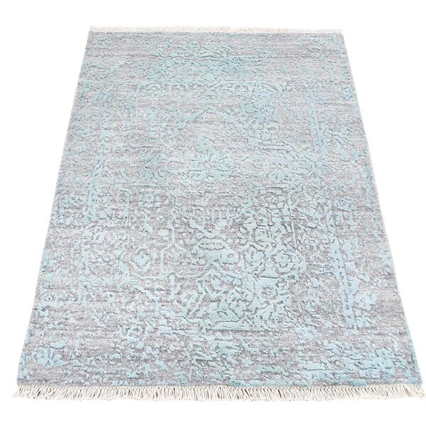 One-of-a-Kind Ninon Broken Oriental Hand-Knotted Silk Area Rug by One Allium Way