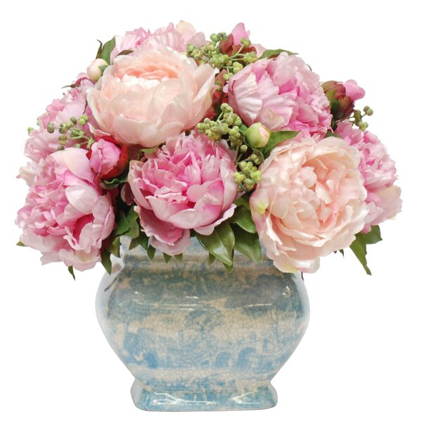 Peony Centerpiece in Decorative Vase by Jane Seymour Botanicals
