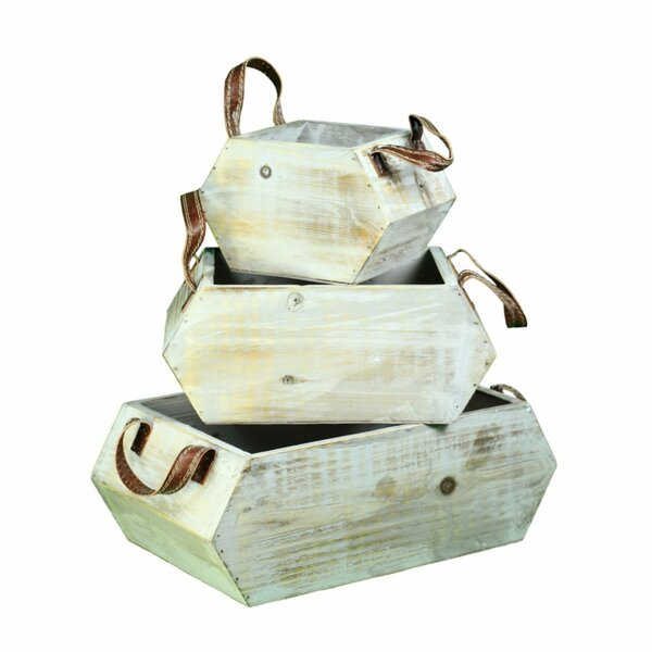 Yandell 3-Piece Wood Pot Planter Set by Millwood Pines