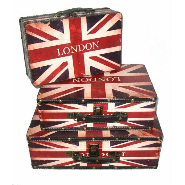 Rustic British Flag 3 Piece Wooden Storage Box Set by Northlight Seasonal