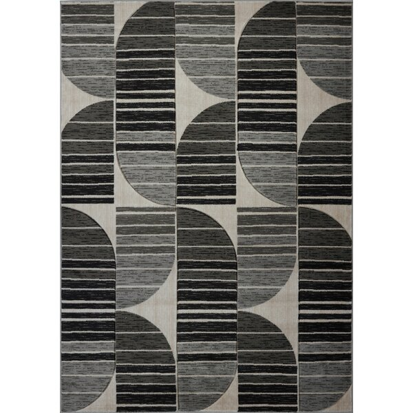 Volkman Gray/Black Area Rug by George Oliver