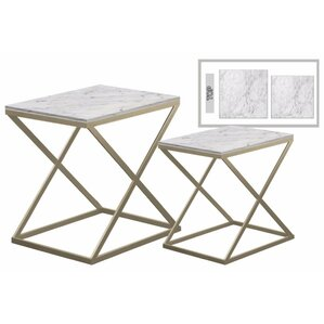 Delphine� Rectangular Metal 2 Pieces Nesting Tables with Marble Top by Eve..