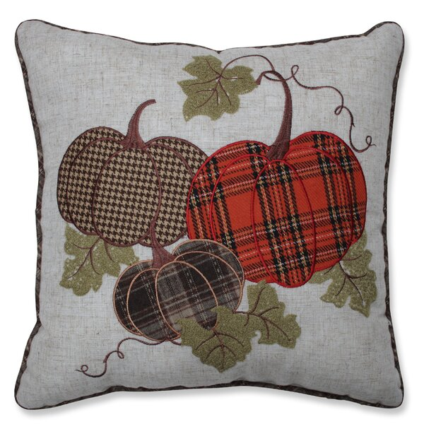 Delano Harvest Plaid Pumpkins Applique Throw Pillow by August Grove