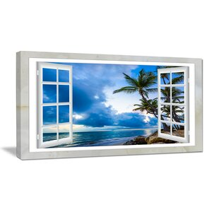 Window Open to Cloudy Blue Sky Graphic Art on Wrapped Canvas by Design Art