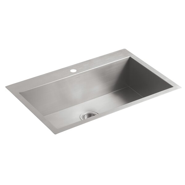 Vault 33 L x 22 W x 9-5/16 Top-Mount/Under-Mount Large Single-Bowl Kitchen Sink with Single Faucet Hole by Kohler