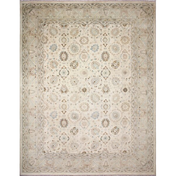 One-of-a-Kind Romona Faded Hand-Knotted Rectangle Ivory Wool Area Rug by Isabelline
