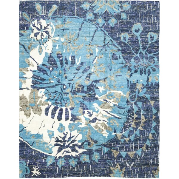 One-of-a-Kind Dacono Hand-Knotted Wool Blue Indoor Area Rug by Bungalow Rose