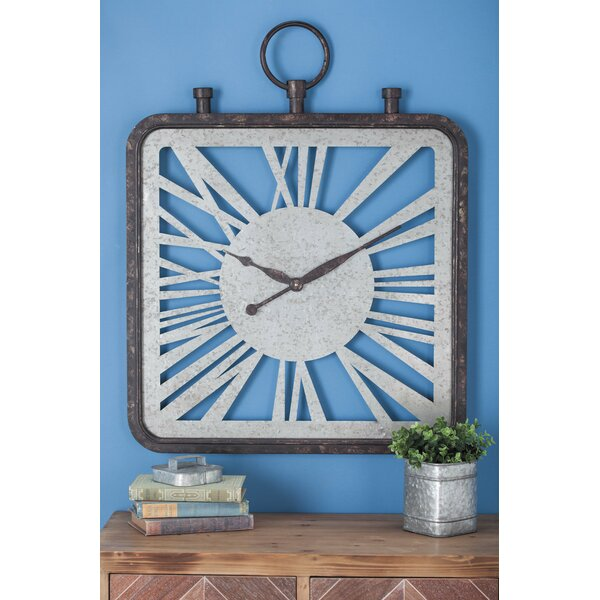 Oversized Metal Wood Wall Clock by Cole & Grey