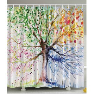 Seasons Tree Print Shower Curtain