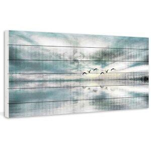 'Birds Skylight' by Parvez Taj Painting Print on White Wood by Beachcrest Home