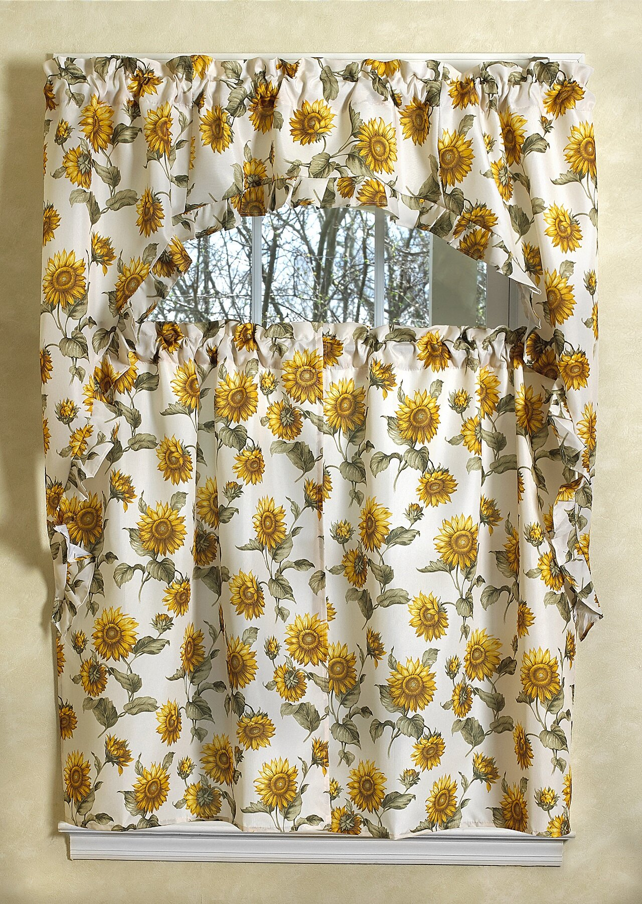 August Grove Yacine Sunflower Kitchen Curtain Set Reviews Wayfair