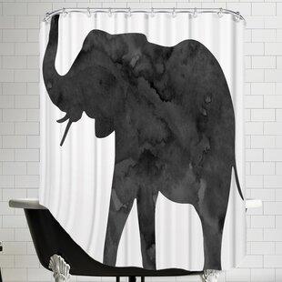 Great choice Peach & Gold C Elephant Shower Curtain ByBrayden Studio